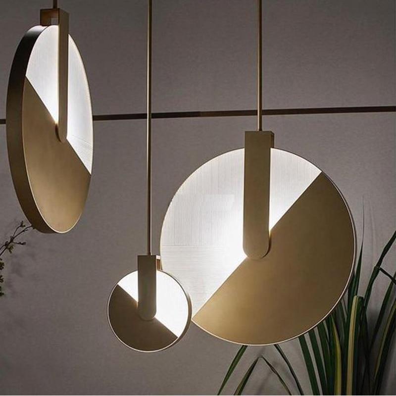 Post Modern Creative Pendant lights Nordic Brief Designer Living room Bedroom Bedside Dining room Gold Aluminum Art Droplight in Pendant Lights from Lights Lighting