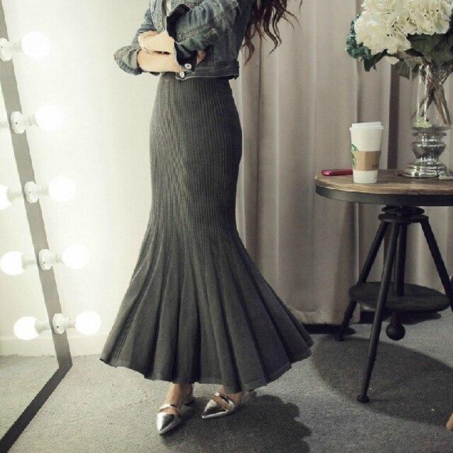Knitting Wool Skirts Women Stretch Empire Waistline Ankle Length Long Maxi Skirt Autumn Winter Mermaid Skirt 2016 New Arrival