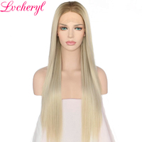 Lvcheryl Hand Tied Ombre Blonde Natural Long Silky Straight Heat Resistant Hair Glueless Synthetic Lace Front Wigs For Women