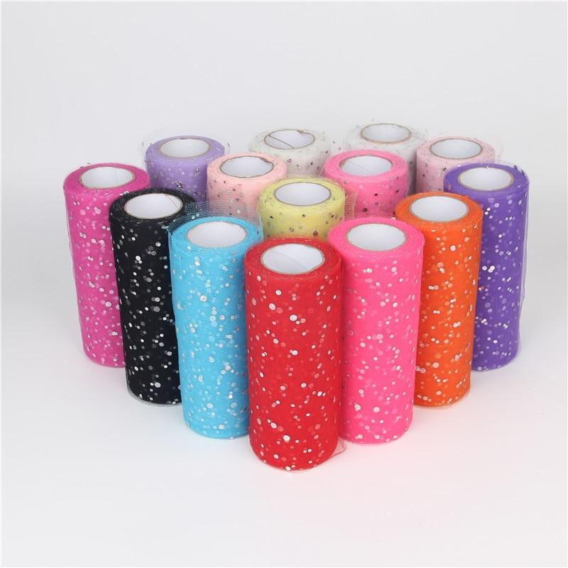25YardX15cm Glitter Sequin Tulle Roll Crystal Organza Sheer Gauze Element Table Runner&Home Garden/Wedding Party Decoration