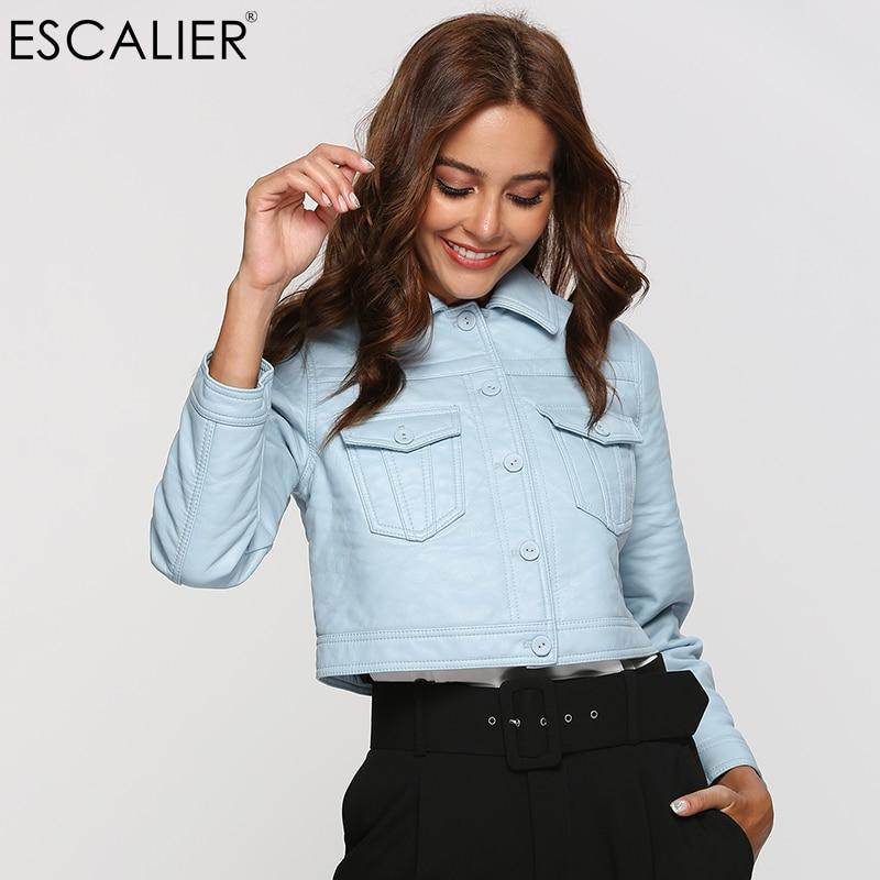ESCALIER Autumn Leather Jacket Women Casual Long Sleeve Button Short Coat Basic Jacket Fashion PU Leather Bomber Jacket Feminina