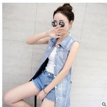 Free Shipping Womens Summer Sleeveless Denim Vests Korean Thin Section Fashion Hole Jeans Waistcoats Cowboy Vest Coats J1654-3