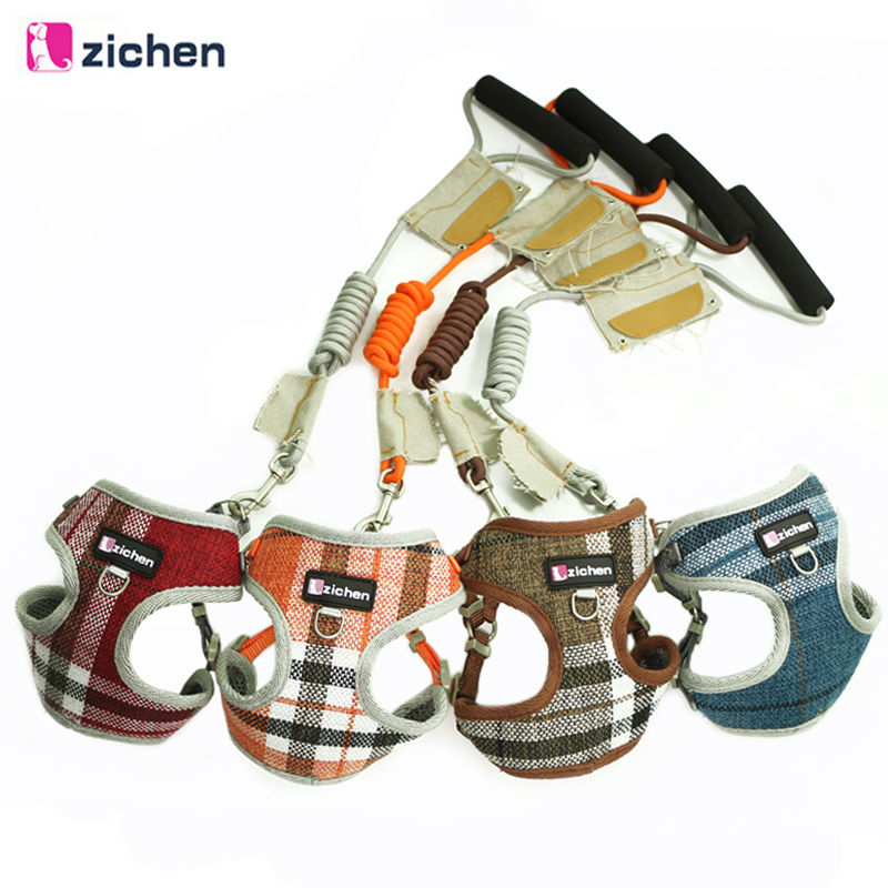 Zichen Pet Dog Harness Leash Adjust Cowboy Fiber Cotton Cloth Canvas Nickel Buckle Dog Harness Vest