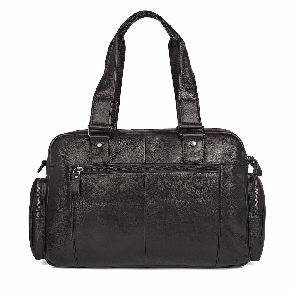 Genuine Cow Leather Men 39 s Fashion Handbag Simple Classic Black Book Bag Durable Laptop Bag 7381A