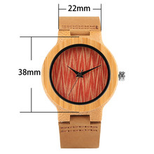 Fashion Wavy Face Wooden Women Watches Woman's Wristwatch es Handmade Nature Wood Bamboo Genuine Leather Strap Creative Analog