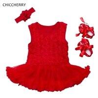 3D רוז פרח בגדי תינוקת פעוט שרוולים שמלת התחרה Romper Vestido דה Bebe סט נעלי סרט תלבושות מסיבת חג המולד