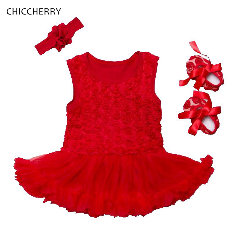 3D Rose Flower Baby Girl Clothes Sleeveless Toddler Lace Romper Dress Headband Shoes Set Vestido De Bebe Christmas Party Outfits crown princess 1 year girl birthday dress headband infant lace tutu set toddler party outfits vestido cotton baby girl clothes