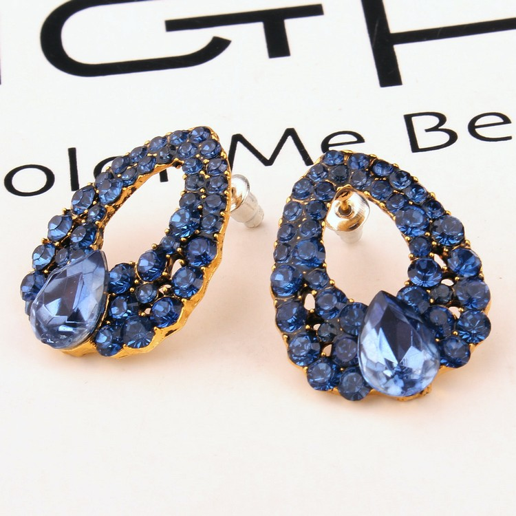 Luxury vintage Blue Crystal Oval Stud Earrings For Women Natural Stone Fashion Big Earrings Piercing Jewelry Bijoux