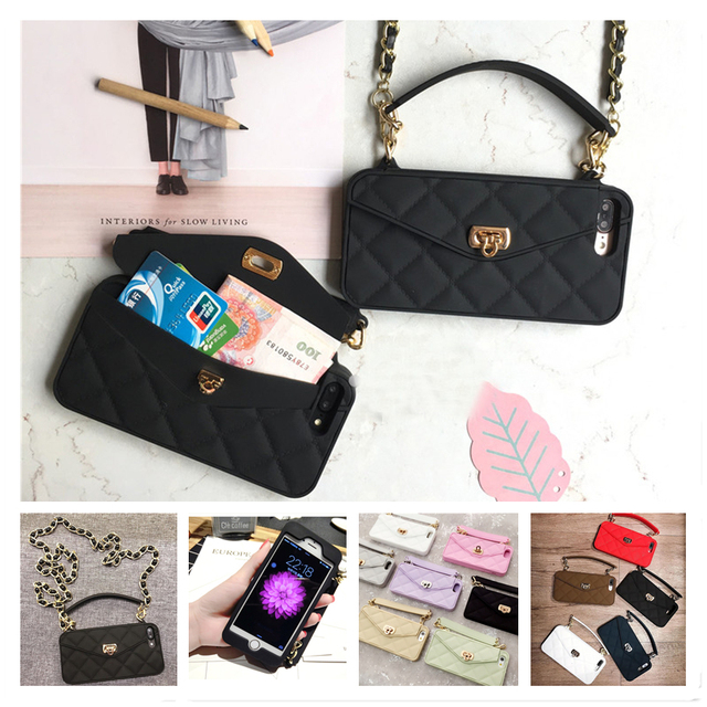 Wallet Case For iPhone 12 Mini 11 Pro Max SE 2020 XR X 10 8 7 6s 6 Plus XS Max Soft Silicon Handbag Purse Phone Cover Long Chain