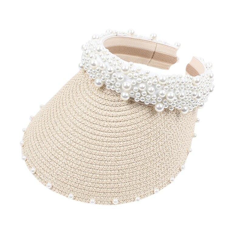 Summer Women Pearl Headband Hat Raffia Visor Caps For Girls Beach Hats Braided Fashion Cap Lady Summer Straw Sun Hat New(China)