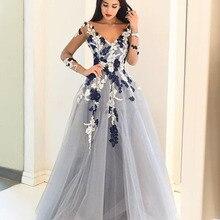 Neu Kommen V-ausschnitt Tüll Spitze Applique Real Sample Langen arabische Abendkleid Langarm Sheer Frauen Formale Abendkleid kleider