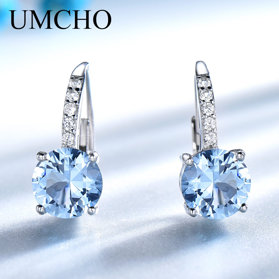 UMCHO Real 925 Sterling Silver Clip Earrings For Women Gemstone Sky Blue Topaz Female Earrings Round Wedding Valentine's Jewelry(China)