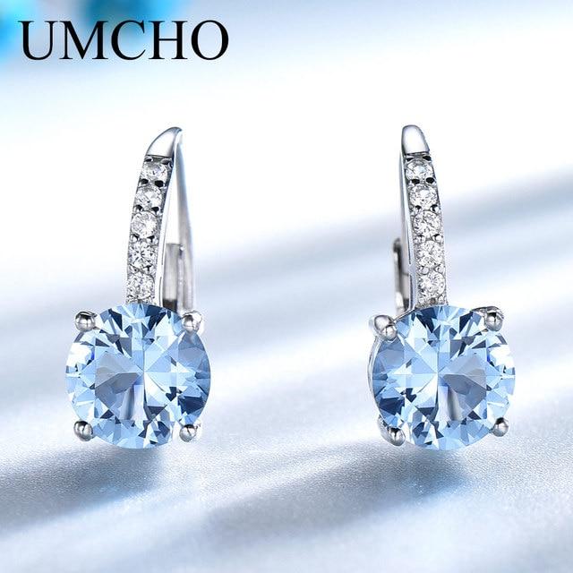 UMCHO אמיתי 925 סטרלינג כסף קליפ עגילים לנשים חן שמיים כחול טופז נשי עגילי עגול חתונת ולנטיין