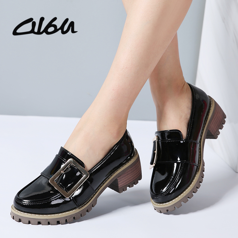 O16U Women Formal Shoes Patent Leather Buckle Slip on Med Square Heel Rubber Shoes Platform Office