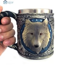 Creative Personality 3D Wolf King Head Pattern Mug Retro Resin Stainless Steel Coffee Tea High quality Cup Dropshiping18Nov14(China)