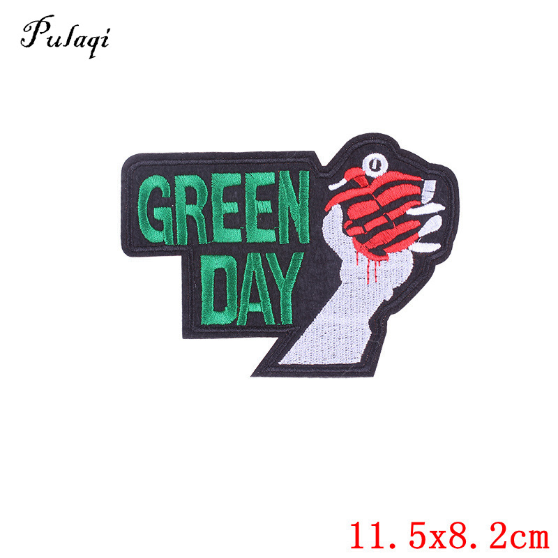 Pulaqi Green Day Embroidered Iron On Patches Sewing Applique Badge For Clothing Apparel  ...