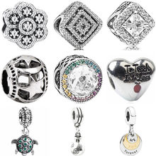 Hot Selling Luxurious Lion Snowflake Tortoise Cat Star Flower Heart Beads Fit Pandora Charms Bracelets for Women DIY Jewelry(China)