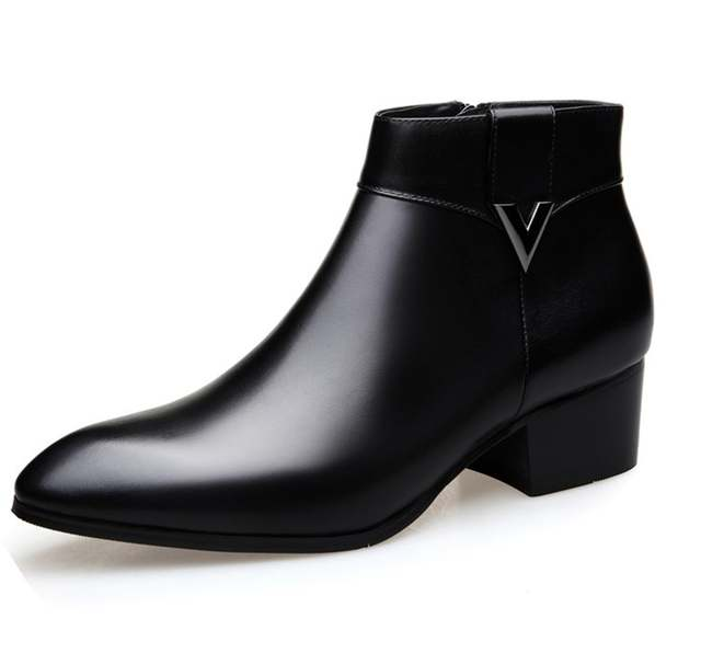 6bfb2b65649 US $95.4 10% OFF|Mens Thick High Heels Boots Pointed Toe Genuine Leather  Men Dress Shoes Fashion Cowboy Boots Classic Black Buckle Ankle Booties on  ...