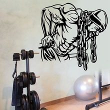 New arrival Gym Name Sticker Fitness Iron Chain Crossfit Dumbbell Decal Body-building Posters Wall Decals Decor Gym Stickers цена