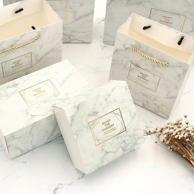 Marble Color Vintage Wedding Candy Box Gift Bag Kraft Paper Gift Box Chocolate Boxes Cookies Bag Women's Bag Gift Bags