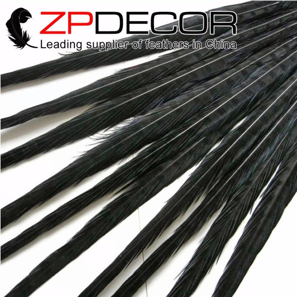 ZPDECOR 100 stuks/partij 50 55 cm (20 22 inch) Premium Kwaliteit Zwart Geverfd Ringneck Fazant Staart Drama Veren-in Veer van Huis & Tuin op  Groep 1