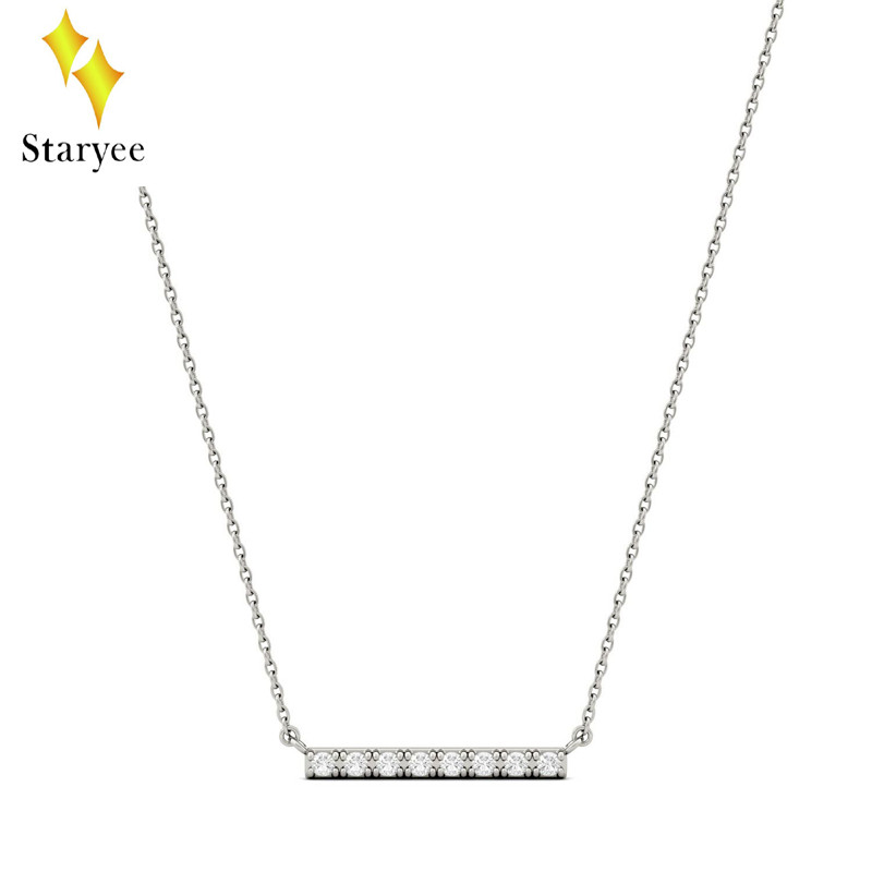 Moissanite Pendent Real 18k White Gold Elegant Engagement Party Band Diamond Moissanite Mini Bar Necklace Chain for Women Gift yoursfs heart necklace for mother s day with round austria crystal gift 18k white gold plated