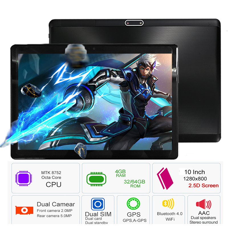 2019 New Google Play Android 8.0 OS 10 inch tablet Octa Core 4GB RAM 64GB ROM 1280*800 IPS 2.5D Glass Kids Tablets 10 10.1(China)