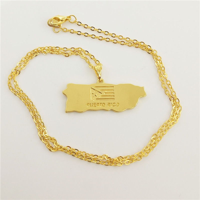 Wholesale Puerto Rico Map Pendant Necklace Women Puerto Ricans Jewelry Choker Necklace Statement Jewelery Gold Color