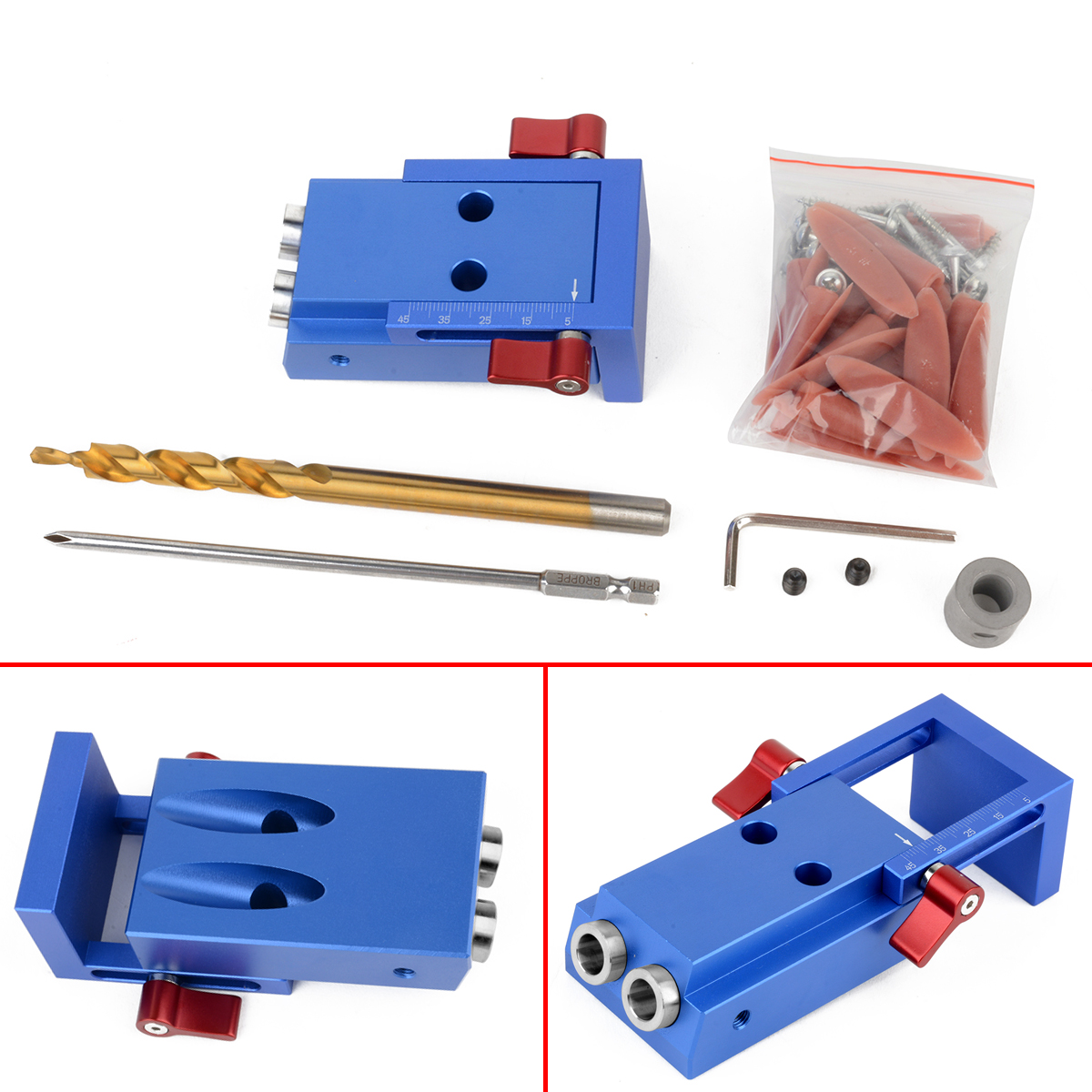 1 Set Mini Pocket Hole Jig Kit Screwdriver Step Drill Bit Wrench with Box Woodworking Tool Kit Newest 20pcs m3 m12 screw thread metric plugs taps tap wrench die wrench set