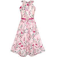 חגורה אדומה פרח שמלת ילדה ורוד פרחוני שיפון מקסי בנות 2018 קיץ נסיכת מסיבת חתונה שמלות גודל בגדי ילדים 6-14
