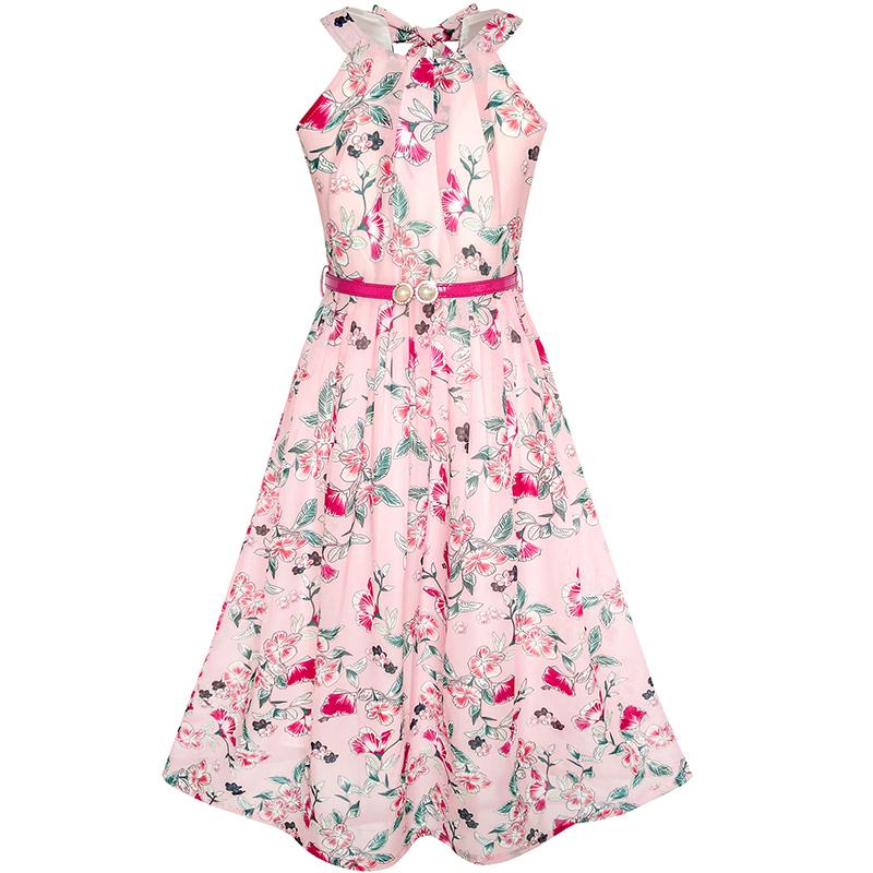 Flower Girl Dress Pink Floral Red Belt Chiffon Maxi dress 2018 Summer Princess Wedding Party Gowns Kids Clothes Size 6-14 floral plus size chiffon formal dress