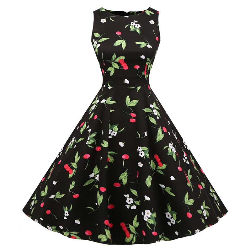 Kostlish Cotton Summer Dress Women 2017 Sleeveless Tunic 50s Vintage Dress Belt Elegant Print Rockabilly Party Dresses Sundress (79)