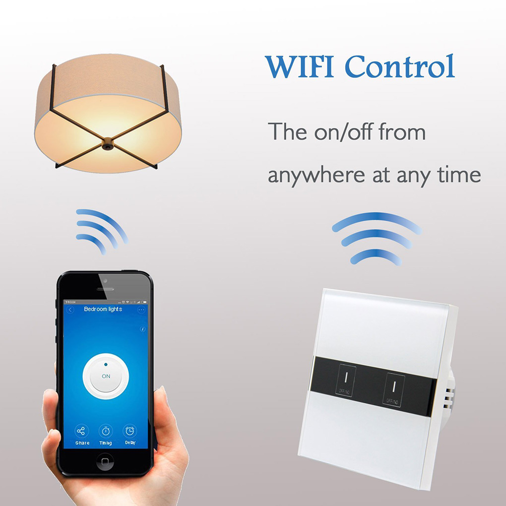 EU Plug 1 2 3 gang WiFi Smart Light Switch Wireless Touch Wall Tempered Glass Switch Panel Works With EWELINK APP Control black color 2gang touch light switch with wireless remote control rf 433mhz glass panel smart wall touch switch uk type