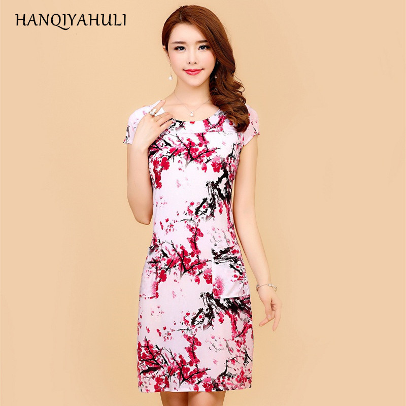 HANQIYAHULI 5XL 2018 Women style dress Slim Tunic Milk Silk print Floral Casual Plus Size vestido feminino loose dresses clothes 1
