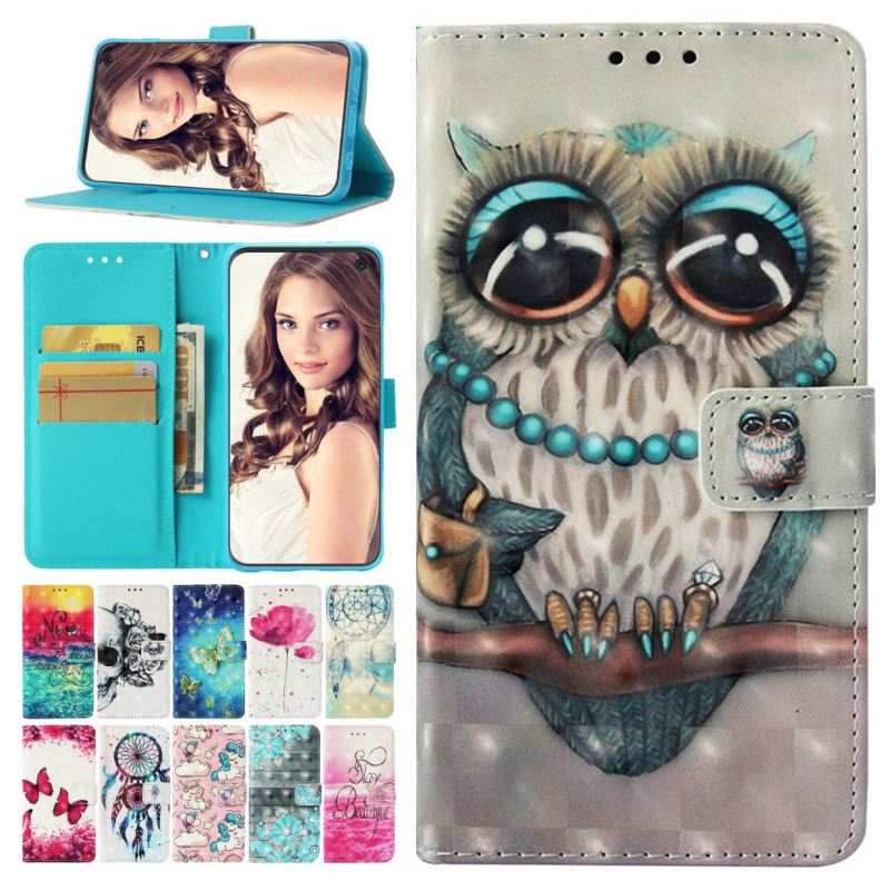 Luxury <font><b>Case</b></font> For Huawei P Smart Plus <font><b>Honor</b></font> 10i 8A <font><b>8X</b></font> <font><b>Max</b></font> Note 10 9 Lite Nova 2i 3i 3e Painted Wallet Card Slot Phone Cover P03E image