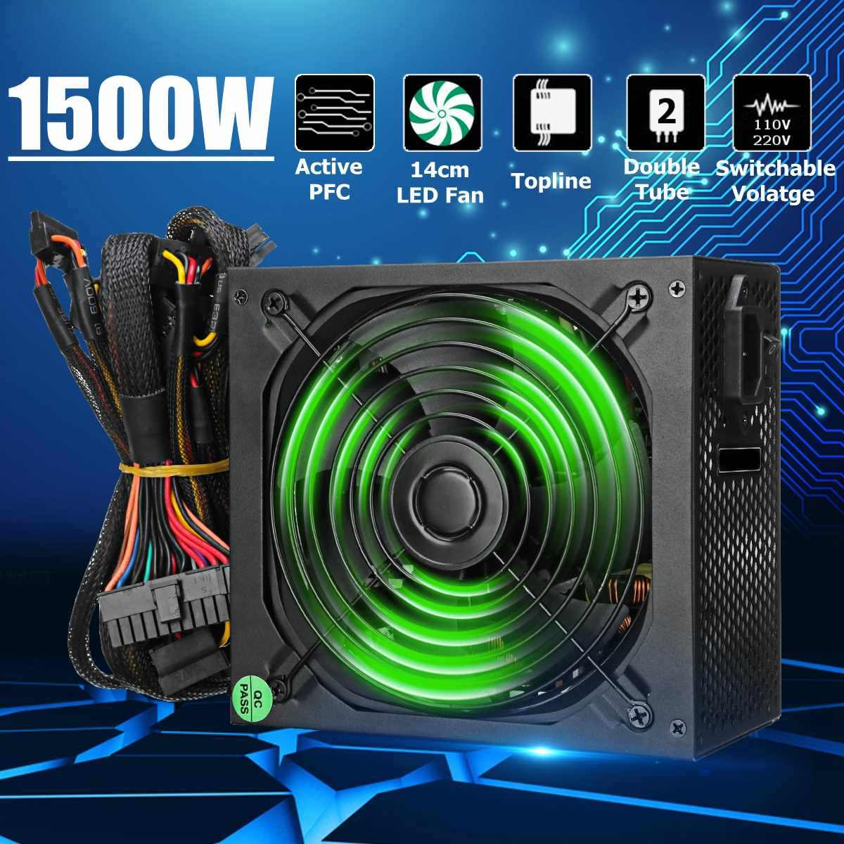 Max 1500W alimentation 140mm ventilateur LED 24 broches PCI SATA ATX 12V PC ordinateur alimentation Support AMD Win7 système