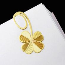 1 Pc New Four-leaf Clover Reading Metal Clip Bookmark Gift Book Mark For Kids