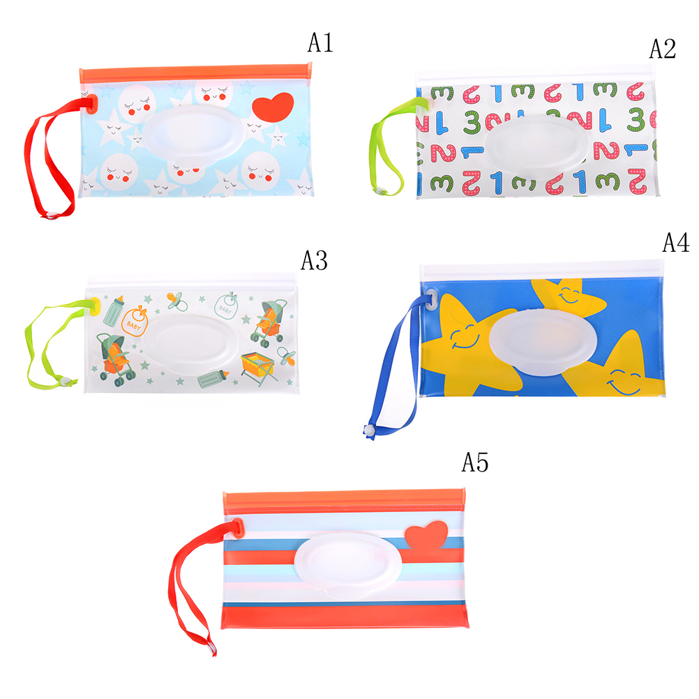 Expressive 1pcs Eco-friendly Wet Wipes Bag Clean Wipes Carrying Case Cosmetic Pouch Easy-carry Snap-strap Wipes Container Clutch Relieving Rheumatism Tissue Boxes