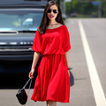 Customize Made Women Summer Fashion Plus Size 3XS-10XL O Neck Batwing Sleeves High Waisted Casual Loose A Line Chiffon Dress