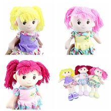 35CM Yellow pink red hair cute girl Dolls Plush and Stuffed Dress Girls Doll Toys Birthday Gifts Baby Gir ingrace soft fashion girls mini dolls plush and stuffed flower dress girls toys birthday gifts baby girl s first doll mini 25cm
