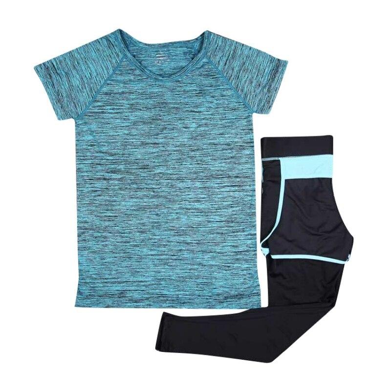 Women Sweat Absorption Dry Quick Short Sleeve T-shirts + Pants Clothing 2pcs/Set