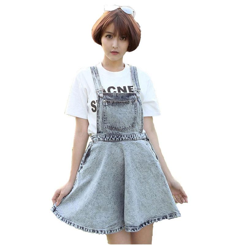 European style vintage Cotton denim women braces skirts fashion leisure impire solid boyfriend mini loose A line girls skirt N4