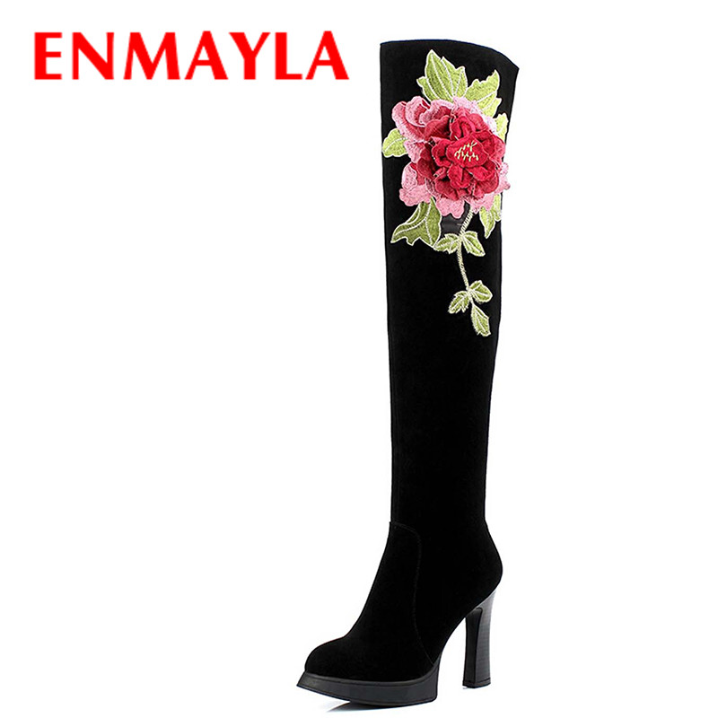 25b097e5e21 US $141.86 |ENMAYLA Winter High Heels Over the Knee High Boots Suede Red  Black Platform Thigh Boots Women Thigh High Embroidery Boots Shoes-in ...