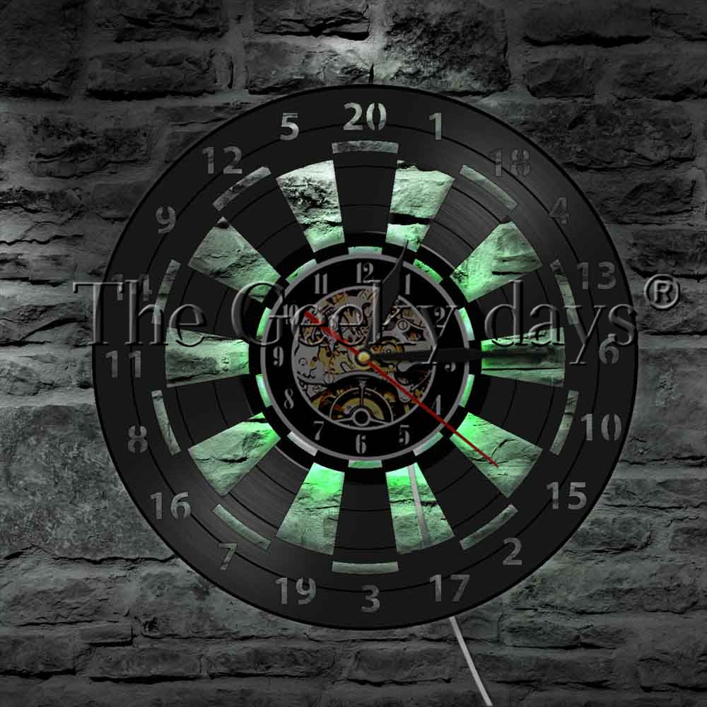 1Piece Game Room Dart Board Darts Game Vinyl Record Wall Clock Modern Design Arrow Aim Game Bar Pub Wall Decor LED Night Light цена