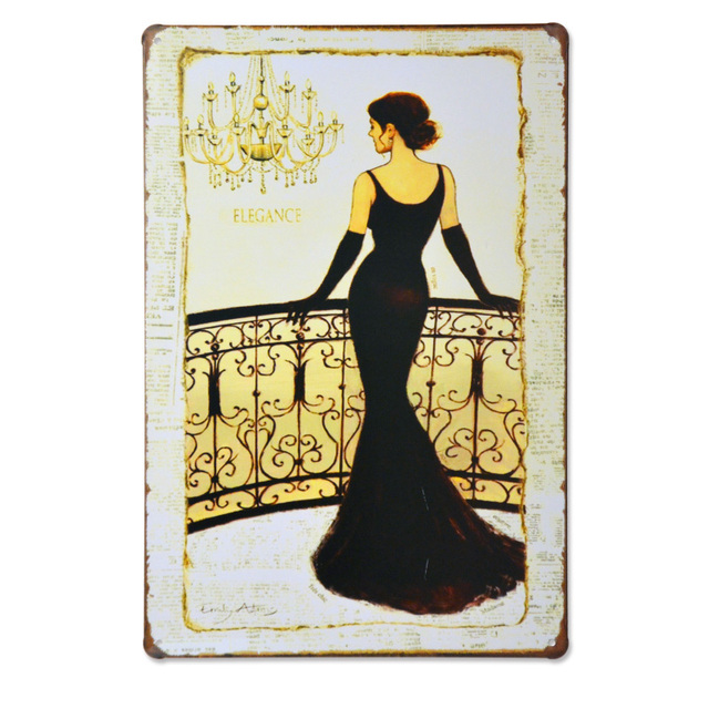 Retro tin plates painting wall stickers home decor creative vintage ...