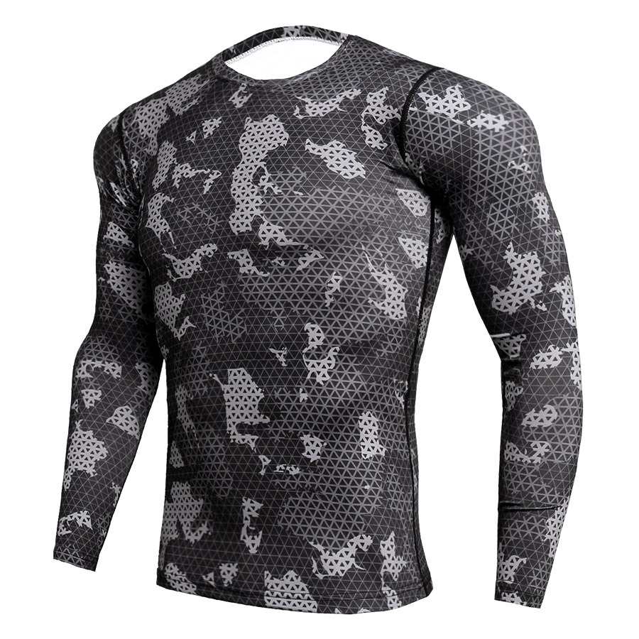2018 Quick Dry Rashgard Male Gym Workout T Shirt Long Sleeve Sport Shirt Men Camouflage Fitness Top Gym Training Running Shirt