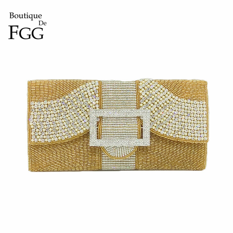 Boutique De FGG Indian Handmade Beaded Women Evening Clutch Purse Wedding Party Cocktail Formal Dinner Diamond Handbag Bag
