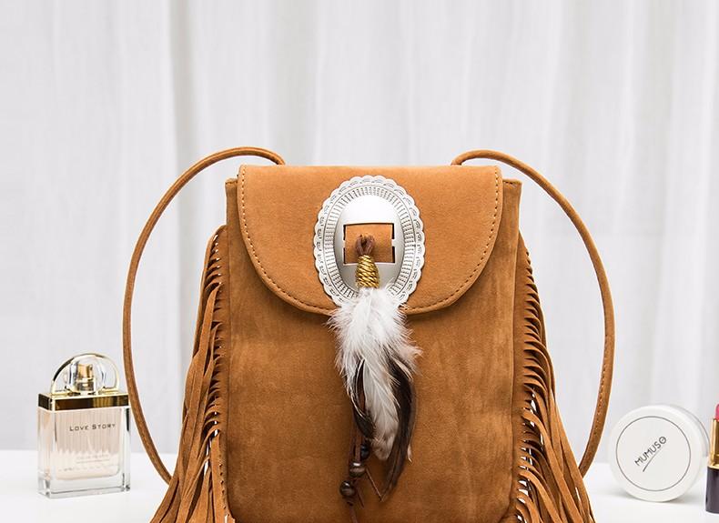 Hippie Suede Fringe Tassel Messenger Bag Women Hobo Shoulder Bags Crossbody Handbag (3)