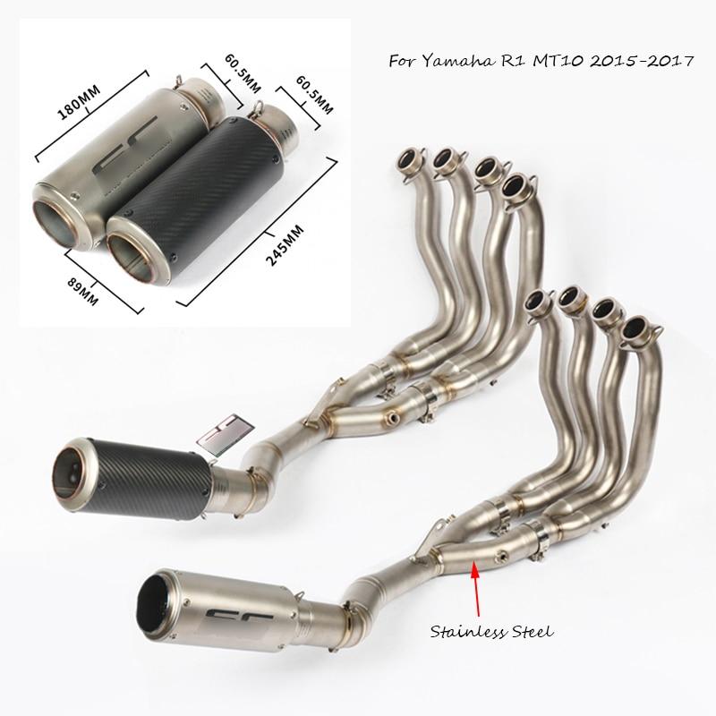 Pour Yamaha R1 MT10 2015 2016 2017 sans lacet 60 MM tuyau d'échappement de moto avec avant système complet lien tuyau moto modifié