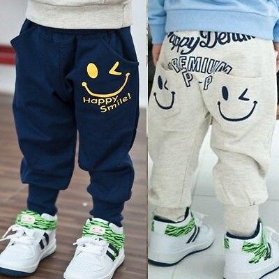Kids fashion kids Smile Harem Pants children kids boy Letter Casual Sports Pants baby boys 2016 NewBlack White leisure pants
